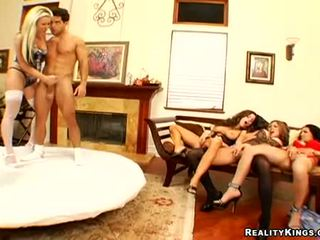 Carolyn Reese And Her Sluty Friends Bent Over Getting Hard Cock Up Wet Slots