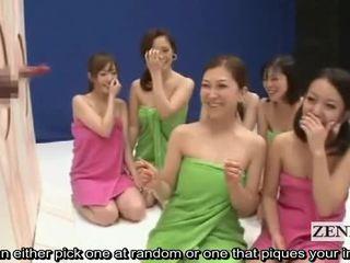 Subtitled cfnm điên nhật bản dương vật guessing trò chơi chương trình