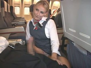 cumshot, blandras, stewardess