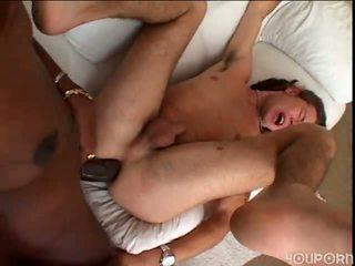 נוער guy cumsucker gets מזוין painful על ידי גדול אבוני קוקסינלית