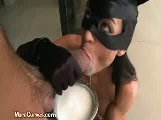 Brunette In Catwoman Uniform Sucks Cock After Dipping In Milk