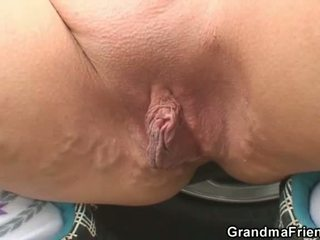 Blonde Grandmother Has 3 Some Out Of Doors