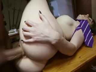 Young schoolgirl getting fucked hard on the table
