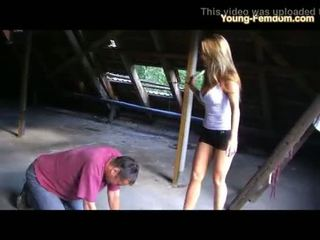 2 young Amateur Girls in Heels dominate man in Ruine