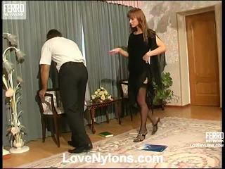 Diana og lesley videotaped whilst having nylonsex