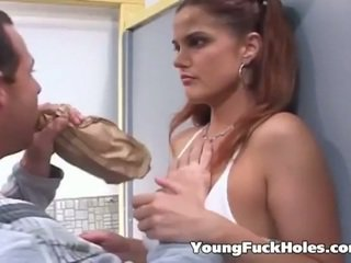 Blackmailed schoolgirl has a threesome