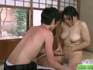 brunette, japanse, grote borsten