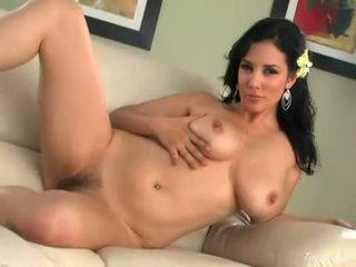 Jelena Jensen With Appple Green Rose On Her Ear Rubbing Her Cunt With Her Hand