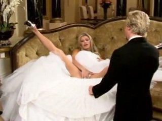 bruid, mooi, sofa