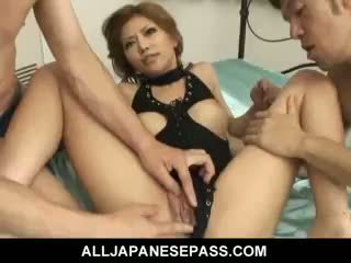 Lovely Japanese Girl Akane Hotaru Takes Two Cocks At The