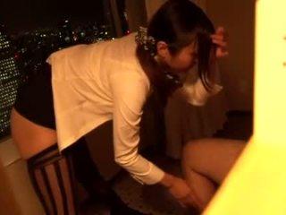 Japanese stewardess sucking big dick in the hotel