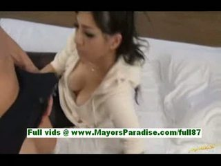 Saori harasuper sexy asian wife at home in bed gets a blow