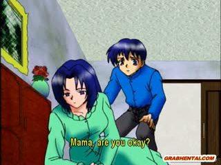 Rondborstig anime mam heet rijden piemel