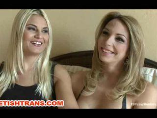 Italian Blonde Slut Dominated By Hot Tranny