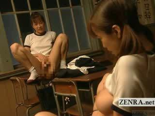 Subtitled Lezbo jap model Class Room bondage