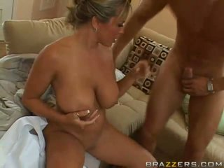Hot busty blonde milf getting her pussy pounded hard by a huge young cock
