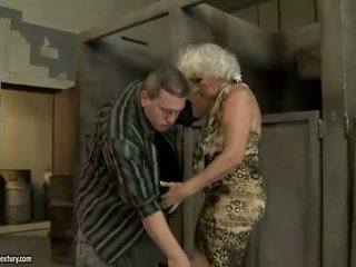 Granny gets fucked in public toilet