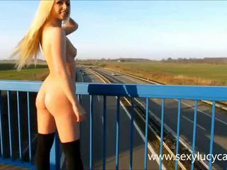 blondes, flashing, outdoors
