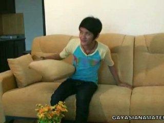 Homosexual asiática jovens depilados strikes um pose