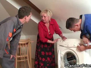 Old widow services two repairmen
