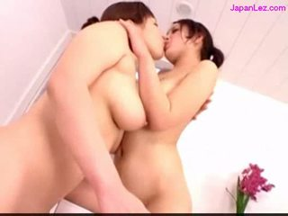 2 girls licking fingering pussies in the bathroom