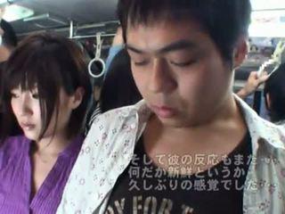 Publisks bj onto the autobuss apkārt karstās japānieši mammīte.