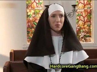 Nun double penetration fucked in Churc...