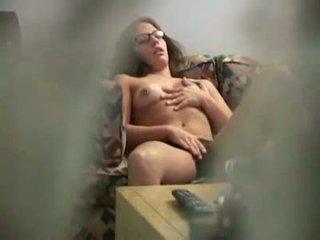 Nxehtë brune lodra të saj pidh në i fshehur kamera