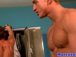 Sporty gay jocks jerking off in lockerroom