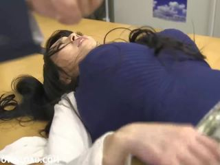 Giant busty asian babe playing with guys at the office