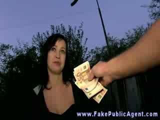 Rich dirty old man tests his luck with an amateur girl outdoor