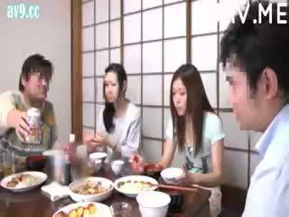 brunette, japonais, éjaculation