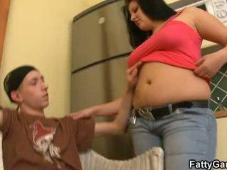 stor, bröst, knubbig