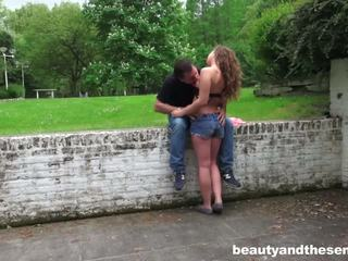 Sexy teen Bunny gets nailed outdoors by senior Philippe