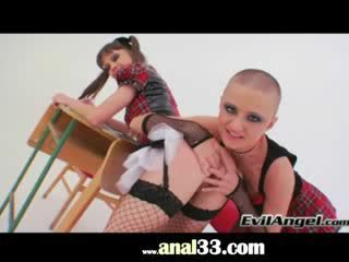 Brutal vibrator in Lesbian anal acrobats