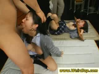 Hot asian schoolgirls gets throats fucked