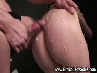 Mature bound brit Lady Sonia fuck and cumshot