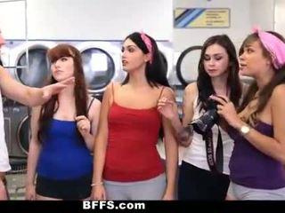 Bffs - kolese girls fuck creepy guy sniffing kathok