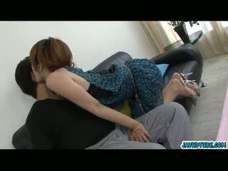 Lovely asia babeh moe aizawa together with her lover on the sofa