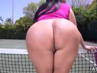 שמן תחת kiara mia gets מזוין ב a טניס בית משפט