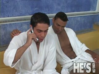 These Horny Jocks Take Off Their Bath Robes And Get Into Some Steamy Action