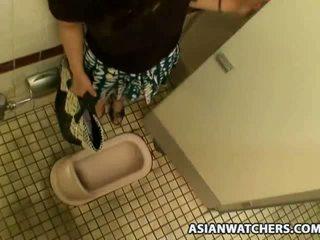 japan, masturbation, schoolgirl, bathroom, dildo, teen