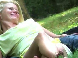 Blonde Girl Sitting Upskirt In A Park no Panties