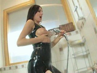 Strapon Cum - Bathroom Latex Jerk