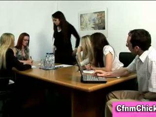 Cfnm femdom ladies humiliate guy in office