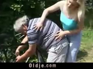 Blonde Whore Is Rimming Old Man