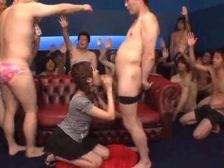 Bukkake action with young cocksucker Tsubasa Amami