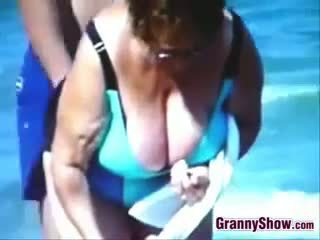 voyeur, beach, granny