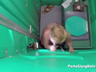 Hot Thick Blonde Sucks Cock in Porta Potty