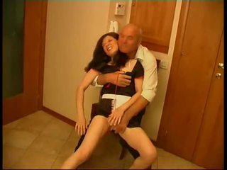 Seductive Brunette Maid Gets Rammed By Old Fart